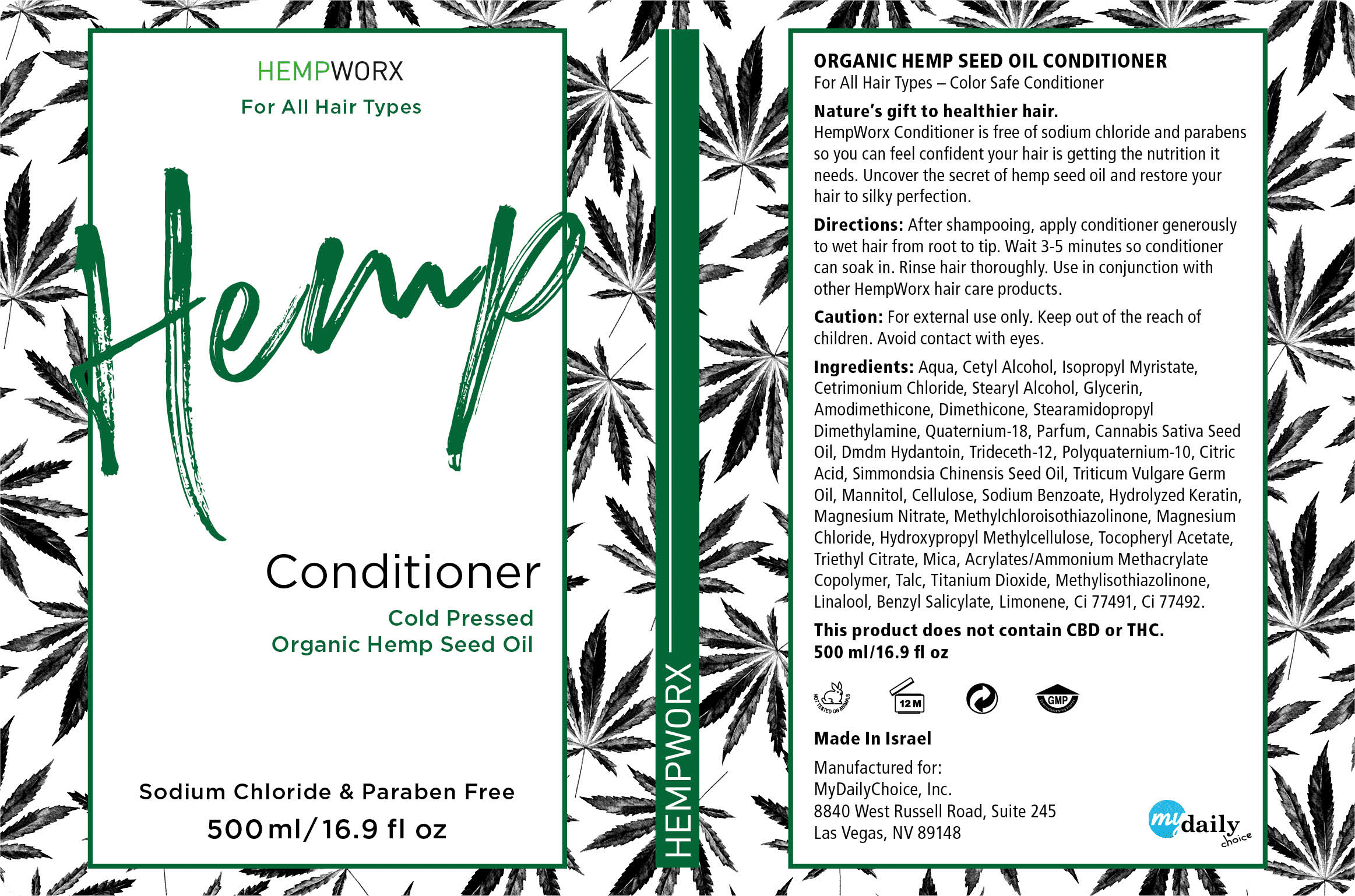 HempWorx Conditioner Product Label