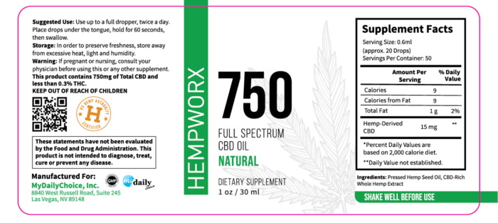 750mg HempWorx Full Spectrum Label Ingredients Natural