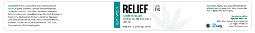 HempWorx Relief 30ml label ingredients