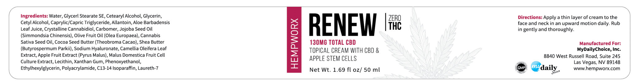 HempWorx Renew 50ml Product Label Ingredients