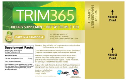 Trim 365 Ingredient Label