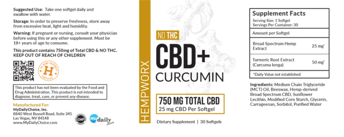 HempWorx Curcumin Softgel Label, Ingredients