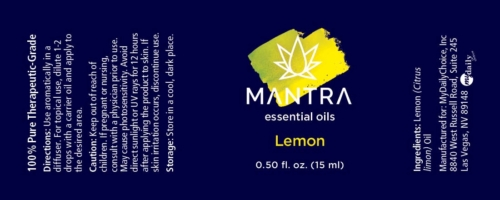 Lemon Essential Oil, Mantra Label