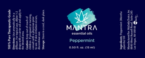 Mantra peppermint product label